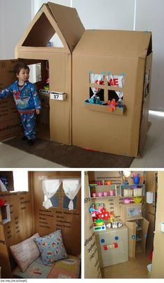 Cardboard Box Home for Kids to play in on a rainy day