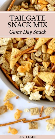 Easy and delicious Tailgate Snack Mix will be the true winner at your next game day party. Make your viewing party extra special with a salty-sweet combination of chex cereal, goldfish, pretzels, peanuts, bugles, and popcorn. This snack mix can be made in just a few minutes and will be ready to feed a crowd!!! Game Day Appetizers, Game Day Snacks, Game Day Food, Popcorn Recipes, Snack Recipes, Homemade Ranch Seasoning, Recipes With Few Ingredients, Football Food, Sweet And Salty
