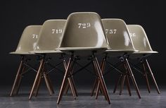 Eames (Manufacture : Herman Miller, Zenith Plastics) : Army Green Shell Side Chairs