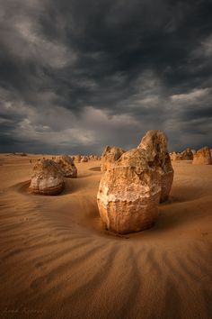 """Stormy Afternoon"" by Leah Kennedy via 500px.  ""The Pinnacles, Nambung National Park, Western Australia."""