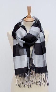Black -white Infinity Scarf-Winter Accessories-Loop Scarf- Huge scarf-Luxury