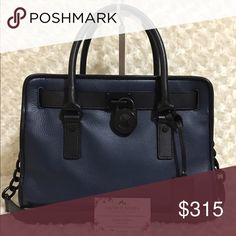 Michael Kors French Binding Hamilton Excellent condition. Minor wear to the matte black chain links on the long strap, some of the paint is wear away were the links connect/touch from rubbing together. Minor, tiny marks to handles shown in picture. Very rare bag. Medium size. Navy/Black in color with matte black hardware. Michael Kors Bags