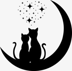 Illustration of cats in love vector art, clipart and stock vectors. Moon Vector, Cat Vector, Vector Art, Kitty Tattoos, Cat Tattoo, Cat Crafts, Rock Crafts, Silhouette Chat, Cat Clipart
