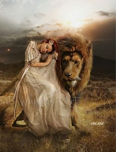 Woman embracing little lamb while resting her head on Lion of Judah. Very touching prophetic art. Lion And Lamb, Leo Lion, Bride Of Christ, Prophetic Art, Lion Of Judah, Lion Art, Angel Pictures, Daughters Of The King, Warrior Princess