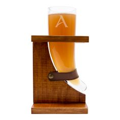 Personalized 16 oz. Viking Beer Horn Glass with Wood Stand