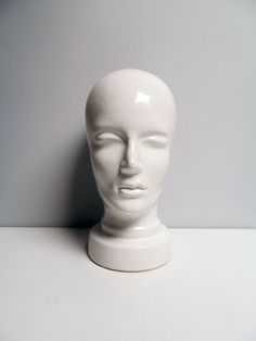 Vintage white Ceramic Head, mannequin, display or hat holder, 701, West Germany, mid century retro, wig holder Height 30 cm / 11.8 in by EbyVintage on Etsy