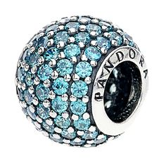 PANDORA Silver Teal Pave Ball Charm 791051MCZ - The Jewel Hut   The Jewel Hut