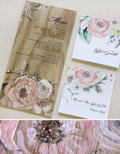 Painted wood veneer menus? Flowers or not...trees or architecture :)