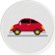 FREE for July 7th 2016 Only -  Cute Red Car Cross Stitch Pattern