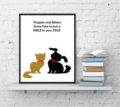 Dog and cat print Kitten print Puppy print by InstantDownloadArt1