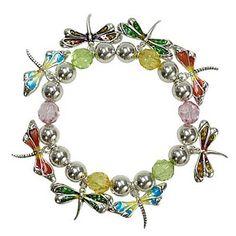 Silvertone Multi-Colored Dragonfly Charm Stretch Bangle Bracelet $16.99