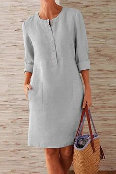 Kleidung Pockets Front Long Sleeves Linen Midi Dress – immorgo If you are planning on doing a lot of Long Sleeve Midi Dress, Maxi Dress With Sleeves, Dress Long, Casual Dresses, Fashion Dresses, Midi Dresses, Shift Dresses, Xl Fashion, Linen Dresses