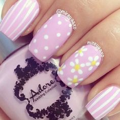 Pink and White Flower Nails fashion nail pretty nail art nail ideas nail designs manicures spring nails Striped Nail Designs, Easter Nail Designs, Easter Nail Art, Striped Nails, Nail Designs Spring, Cute Nail Designs, Flower Nail Designs, Spring Design, Nail Designs For Toes