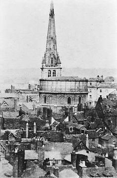 This view was taken from one of the empty clock dial windows of the old market hall during its erection in about 1868. The spire of St. Mary's Church is in the centre and just to the right the Salop Infirmary. Below the spire is the water tower situated between St. Mary's St. and Butcher Row. The reservoir was able to hold 25,300 gallons of water pumped up from the Severn at Coton Hill.