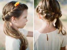 flower girl hair waterfall braid | spring mountain ranch las vegas wedding | gaby j photography
