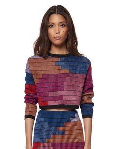 Mara Hoffman Radial Knit Cropped Sweater in Raspberry