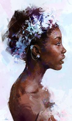 """Portrait"" - A. Griffin {figurative art beautiful female head reef black woman face profile digital painting #loveart}"