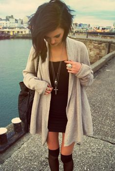 Fall Spring-Black dress, nude cardigan, black knee-highs, and cross necklace. Follow me on Instagram @merlyburg :)