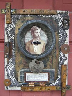 """The Man"" Photo Collage With a Tin Pie Plate, Watch Part, and Folding Ruler"