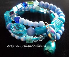 Element of Water Memory Wire Bracelet by CellDara on Etsy