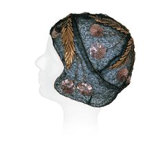 1920's Metallic Cherries Novelty Sequin Embroidery Gold-Lame Cloche Hat | From a collection of rare vintage cloche hats at https://www.1stdibs.com/fashion/accessories/cloche-hats/