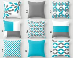Throw Pillow Cover designs in Scuba Blue, Grey, and White.  Individually cut and sewn by hand, features a 2 sided print and is finished with a zipper for ease of care. SIZES: 16in. X 16in. 18in. X 18in. 20in. X 20in. 24in. X 24in.  COLOR: If you would like colors other than what is shown in the main photo, please review the color palette and type the colors in the notes to seller section. A preview will be sent for approval before being made.   IMPORTANT: SIZE 16X16, 18X18, 20X20 AND 24X24…