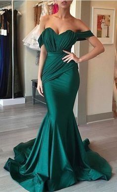 dark green mermaid prom dresses,sexy off the shoulder prom party gowns, formal evening dress with pleats,simple stain dress