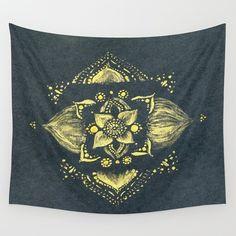 Gold Black Mandala Wall Tapestry black gold tapestry by lake1221