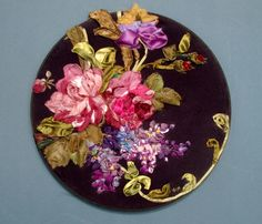 "ribbon embroidery | Ribbon & Stump Embroidery, 12 1/2"" Round, Bouquet of Nature's Flowers ..."