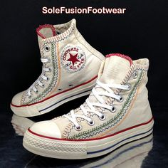 9a524eb3bcc25 Converse Womens All Star Vintage Trainers White Red sz 5 Rare Sneakers US 7  37.5