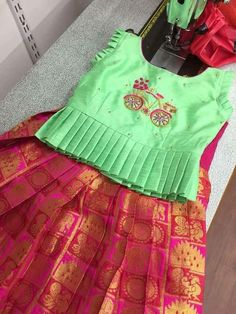 Kids blouse - 49 Ideas Dress For Kids Indian dress Kids Party Wear Dresses, Kids Dress Wear, Kids Gown, Dresses Kids Girl, Baby Dresses, Kids Outfits, Kids Indian Wear, Kids Ethnic Wear, Kids Dress Indian
