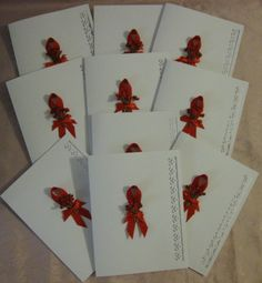 Red Ribbon Awareness White Blank Note Cards~Unique One of a Kind Creations offered by crafts4thecure on etsy #crafts4thecureonetsy