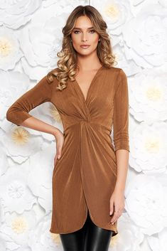 """StarShinerS brown casual long women`s blouse with tented cut thin fabric with metallic aspect with v-neckline, metallic aspect, tented cut, """"V"""" cleavage, 3/4 sleeves, elastic fabric, thin fabric"""