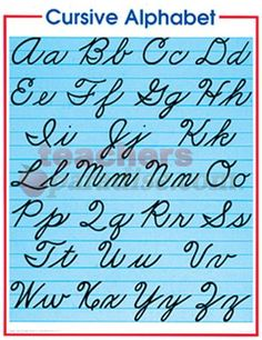 This is becoming a lost art. Please teach your kids......cursive alphabet chart   Cursive Alphabet Chart from TeachersParadise.com   Teacher Supplies ...