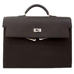 Hermes Kelly Depeches 34cm Epsom Black Silver Hardware for Men