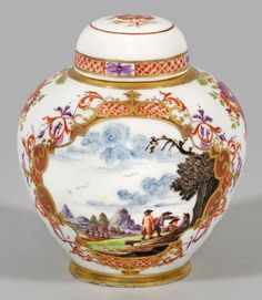 Meissen, Saxony (Germany) c.1730-1740, A rare tea caddy with landscape scenes paintings probably by J. G. Heintze.