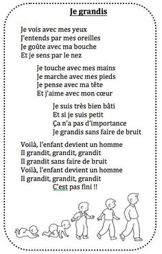 Chanson Je grandis chez Vivi – école petite section - Kita Projekte French Teaching Resources, Co Teaching, Teaching Social Studies, Teaching French, French Poems, French Phrases, Petite Section, Learn French, Learn English