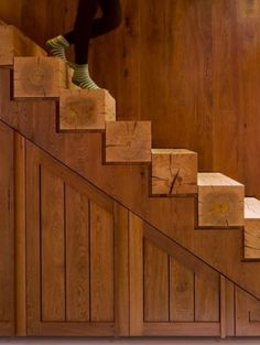 Reclaimed lumber used in staircase...Would be interesting if contrasted with metal.