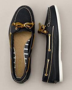 Sperry Audrey Slip-on Boat Shoes | these look hella nice, the gold and blue <3