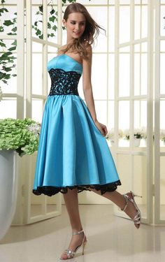 A-line Strapless New Style Natural Waist Bridesmaid Dress