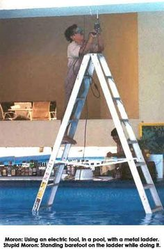 Funny health and safety pictures. Ladders can be dangerous. Electrical safety pictures - Lightning nearly strikes man.