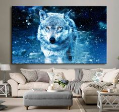 Snow Wolf 2 sizes available Canvas Print Wall Art Sarah Stokes