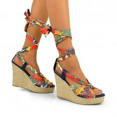 Colorful tie up wedges