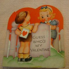 Vintage Valentine's Day Card little boy and little girl at gate