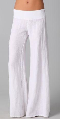Enza Costa Linen Wide Leg Pants thestylecure.com