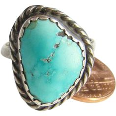 Navajo Style Turquoise Ring Size 8.5 Sterling Silver Southwestern Native American Indian Jewelry Boho Chic