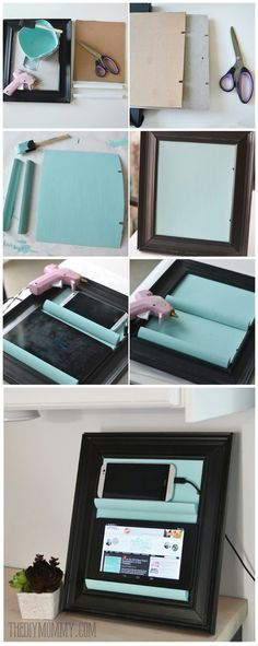 Diy charging station...frame..piece of cardboard to fit frame with 2 notches in side for cords..2 pieces of trim with decent edge to set gadget on..glue all 3 pieces inside of frame..can also paint to match decor.