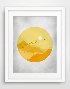 Yellow and Grey Large Wall Art Nature Art Midcentury by evesand, $25.00