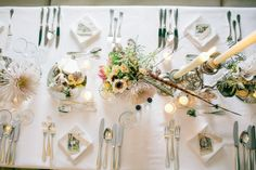 simple table setting, white on white