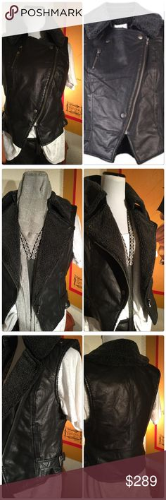 """Rare Ultimate Designer Moto Vest NWOT Ladies this is the ultimate leather Moto vest so rocker chic. Classy and sassy 100% super soft pig leather with faux lining. Two side pockets and a ncool chest zipper pocket that yeah you can put keys in or even a lipstick if you are so inclined! Zipper and snap enclosures. Two side adjustable buckles. The details are amazing including leather flaps with snaps on the shoulders. Approx 17.5"""" pit to pit and 19.5"""" long Charlotte Ronson Jackets & Coats Vests"""